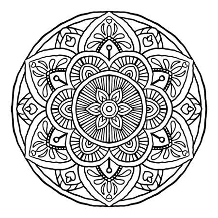Outline Mandala decorative round ornament, can be used for coloring book, anti-stress therapy, greeting card, phone case print, etc. Hand drawn style isolated on white background - Vector Oriental