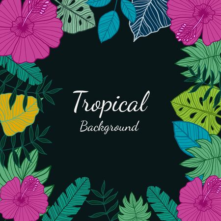 Tropical leaves and Flowers on Dark background. Exotic botanical design for Greeting card, packaging design, Web design - Vector Illustration