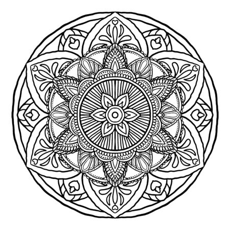 Outline Mandala decorative round ornament, can be used for coloring book, anti-stress therapy, greeting card, phone case print, etc. Hand drawn style isolated on white background - Vector Oriental  Çizim