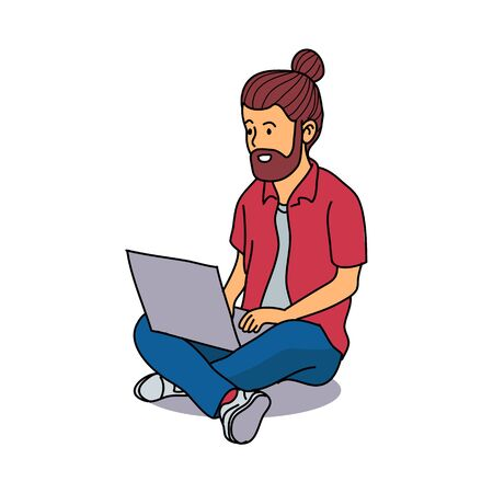 Young Man Sitting use Laptop, working on laptop, Adorable Cartoon Character for Business or Education Concept - Flat Vector Illustration
