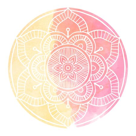 Outline Mandala decorative round ornament, with Watercolor background - Vector Ornament. Çizim