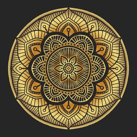 Luxury Golden Mandala decorative round ornament on black background, hand drawn Arabic islamic style - vector oriental ornament
