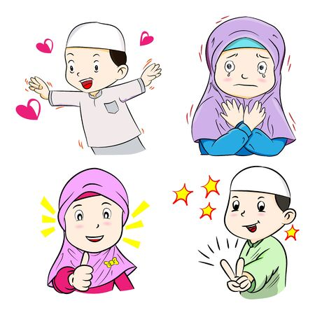 Illustration of Muslim Kids, isolated on white background, Hand Drawn Cartoon Vector Illustration