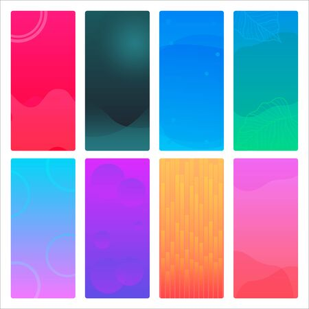 Set of gradient background, Soft color background. Modern screen vector design for mobile app design. Soft color gradients - Vector Abstract background