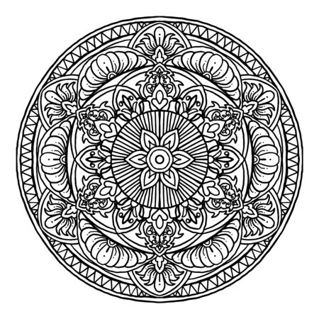 Outline Mandala decorative round ornament, can be used for coloring book, anti-stress therapy, greeting card, phone case print, etc. Hand drawn style isolated on white background - Vector Ornament.