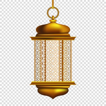 Golden Arabic lantern, Gold vintage luminous lantern, Isolated on Transparent Background - Vector Illustration Çizim