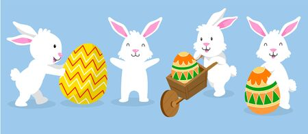 Cute White Easter Bunny Collection on blue background - Flat Vector Illustration