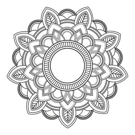 Outline Mandala decorative round ornament, with Watercolor background - Vector Ornament Çizim