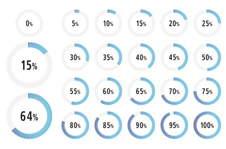 Set of circle 0-100 Percentage diagram ready to use for infographics, web design and ux, ui - Vector Illustration