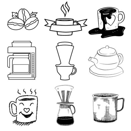 Doodle of Hot drink elements and other tool related - Hand Drawn Vector Illustration