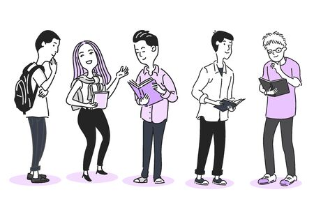 Group of Young men and women are standing hold the book, talking, conversation, and chatting,  in Cartoon doodle style, for education or business concept. vector illustration flat design
