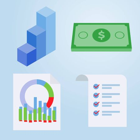Set of business flat icon, Graph, Money, Infographic, document, Flat design Vector Illustration