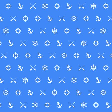 Nautical pattern seamless summer sea pattern with Boat steering, Life Buoy, Anchors and Paddles on Blue background. Nautical pattern vector