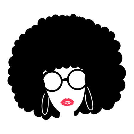 Beautiful African American Woman with red lips, Curly afro Hair. Silhouette isolated on white background - Vector Illustration