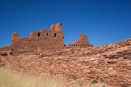 adobe pueblo: Horizontal view of the Abo Pueblo Ruins in Central New Mexico