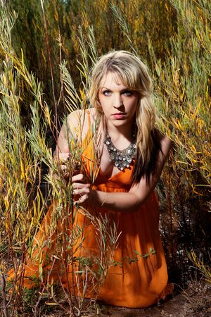 beautiful blonde woman outdoors in tall grass photo