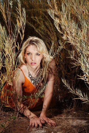 beautiful blonde woman crawling through tall grass