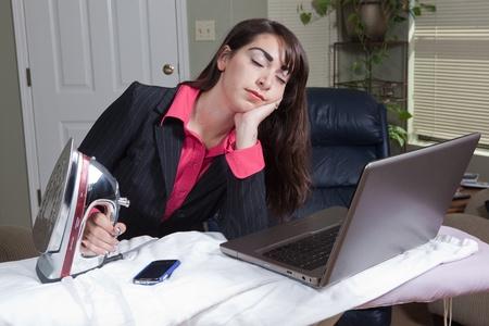 Woman struggling between work life balance