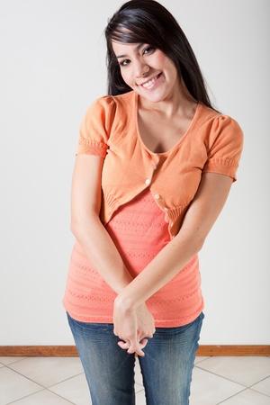 bashful: Portrait of beautiful bashful Hispanic woman