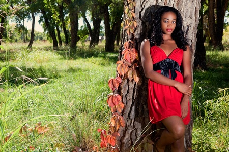 Beautiful dark skinned woman leaning against a tree