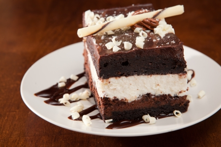 Single piece of chocolate mousse cake on white plate