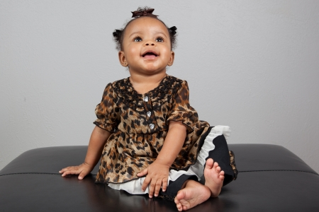 six girls: Portrait of beautiful 6 month old African American Baby Stock Photo