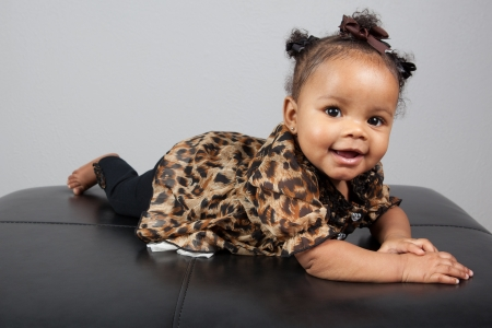 Portrait of beautiful 6 month old African American Baby Stock Photo