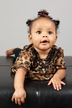 month: Portrait of beautiful 6 month old African American Baby Stock Photo
