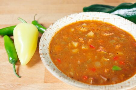 Hearty bowl of New Mexico style green chile stew