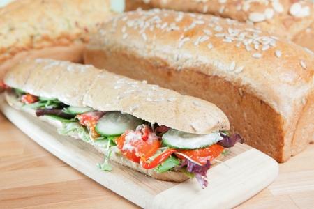 Chicken Salad Sandwich on wooden cutting board Stock Photo - 17231532