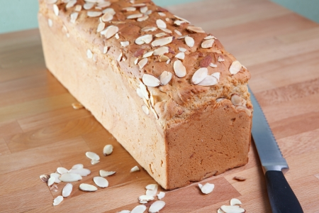 Loaf of fresh baked gluten-free almond bread photo