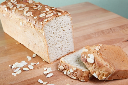 Loaf of fresh baked gluten-free almond bread