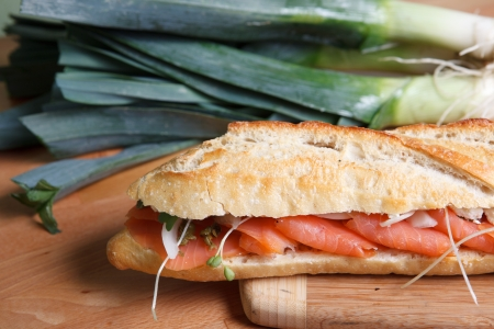 Smoked Salmon Sandwich on Baugette photo