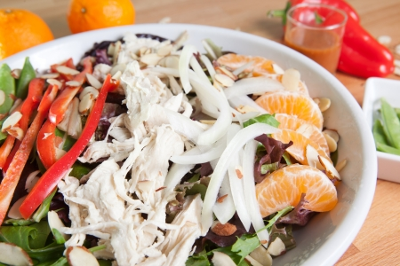 Colorful chicken Asian Salad Stock Photo