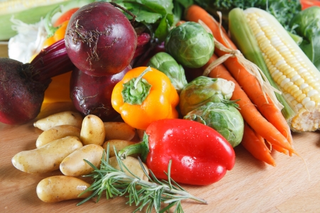 Assortment of raw colorful vegetables Stock Photo