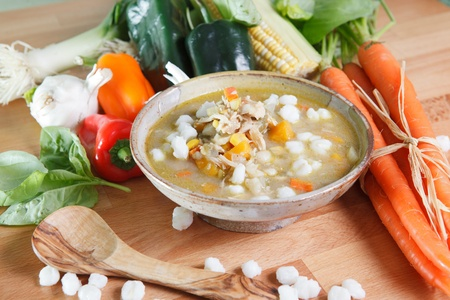 Southwestern Style Chicken Posole Stew Stock Photo