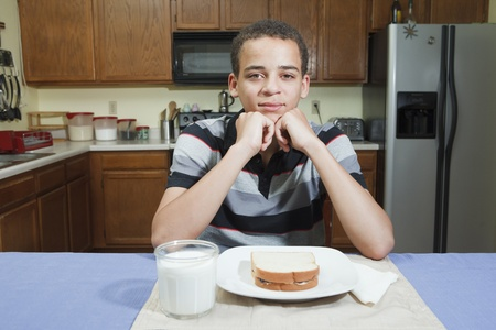 teenage mixed race boy ready to eat peanut butter and jelly sandwich in kitchen at home photo