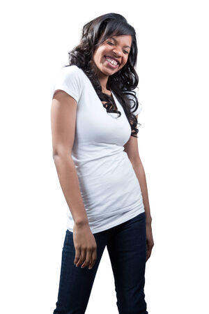 Laughing casual black woman