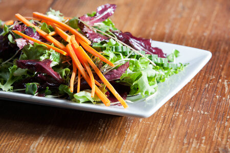 Close up look at arugula salad with carrots, red romaine and more