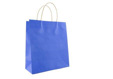Blue shopping bag isolated on white photo