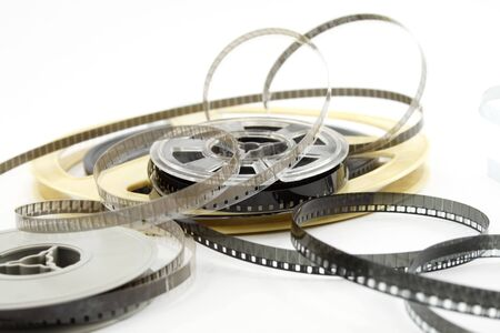 Film reels isolated on white background photo