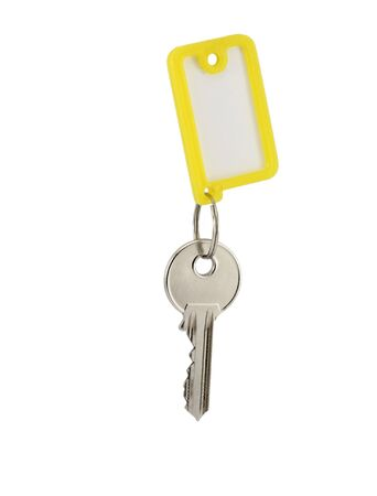 doorkey: key with blank tag isolated on white Stock Photo