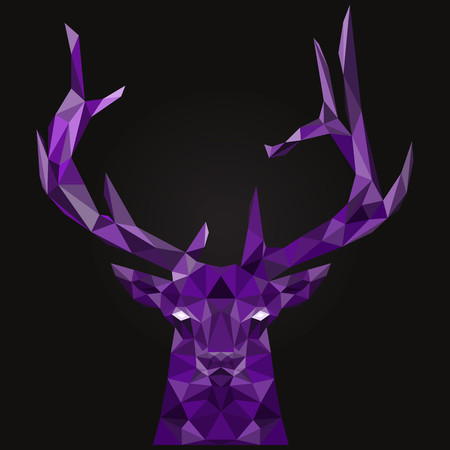 Abstract deer low poly. The purple color. Illustration