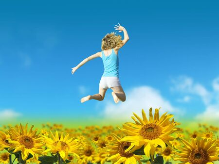 Person in Sunflower Field Stock Photo