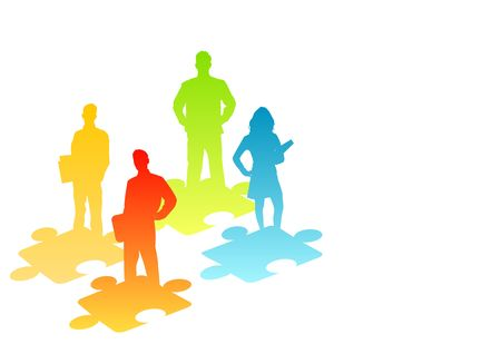 decipher: illustration of people and puzzle pieces Stock Photo