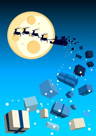 Illustration with santa flying by with gifts flying off. illustration