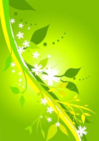 greens: illustration of floral designs in fresh greens and yellows.