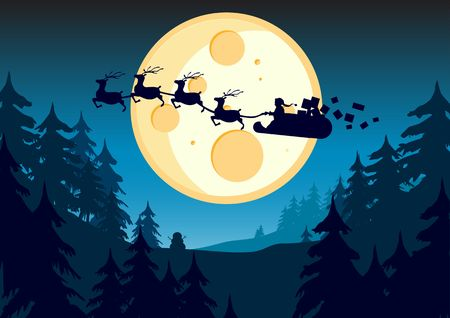 Santa flying past the moon in this  illustration. illustration