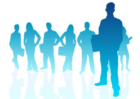 friendly competition: a group of business people Stock Photo