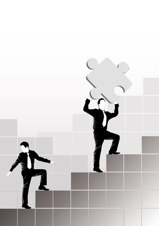 Two businessmen climbing  with one holding a puzzle piece. Stock Photo - 723113